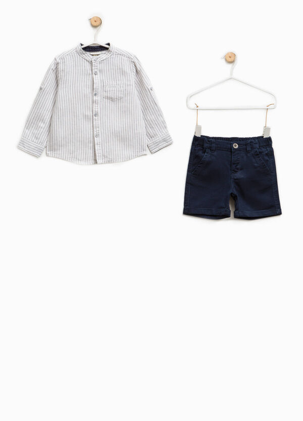 Shirt and Bermuda shorts outfit in cotton and linen | OVS
