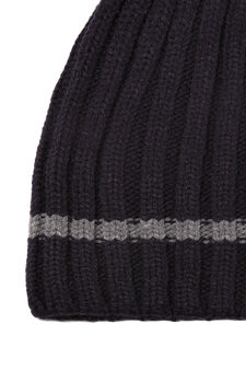 Knitted ribbed beanie cap, Navy Blue, hi-res