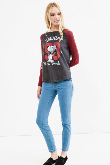 Cotton T-shirt with Snoopy print, Grey/Red, hi-res