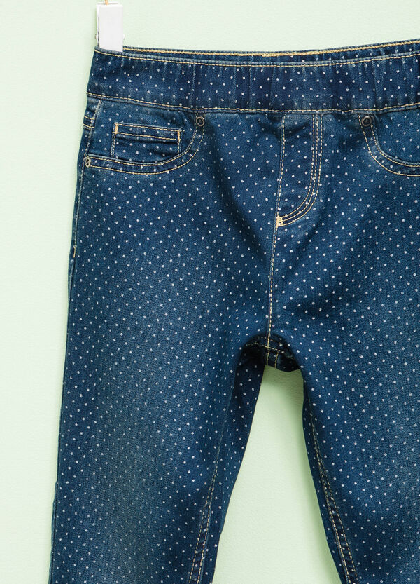 Polka dot pattern stretch jeggings | OVS