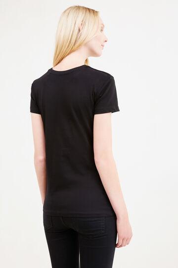 T-shirt scollo rotondo e stampa, Nero, hi-res