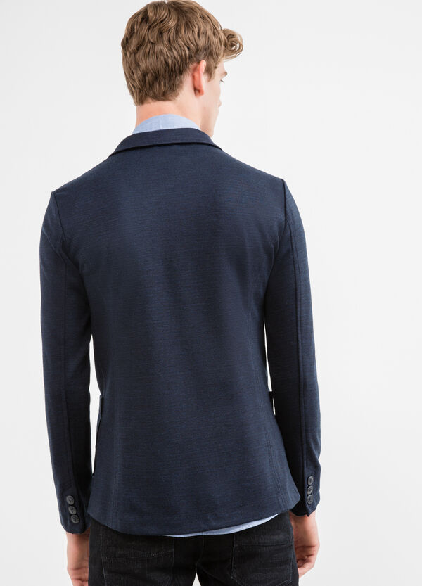 Cotton blend casual jacket with lapels | OVS