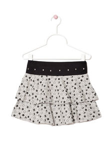 Patterned skirt in stretch cotton, Black/Grey, hi-res