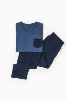 Solid colour pyjamas with pocket, Blue, hi-res