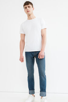 Straight fit jeans with zip and turn-ups, Medium Wash, hi-res