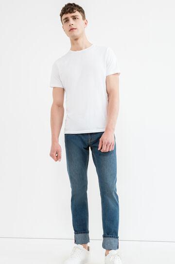 Jeans straight fit con zip e risvolto, Lavaggio medio, hi-res