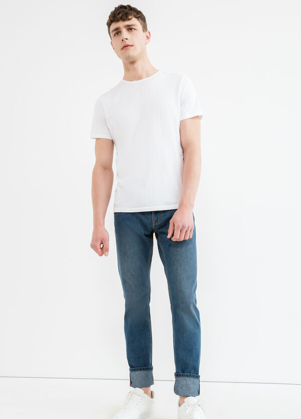 Straight fit jeans with zip and turn-ups | OVS