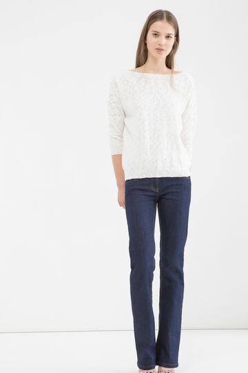 100% cotton knitted pullover, White, hi-res