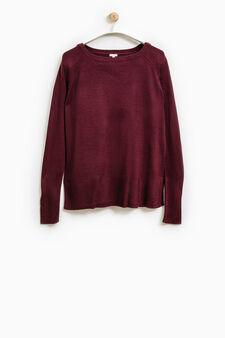 Smart Basic solid colour pullover, Aubergine, hi-res
