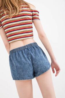 Shorts di jeans regular fit maltinti, Blu, hi-res