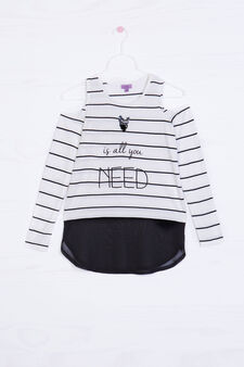 T-shirt in striped 100% viscose, White/Black, hi-res