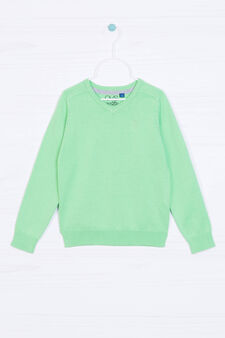 Ribbed pullover in 100% cotton, Green, hi-res