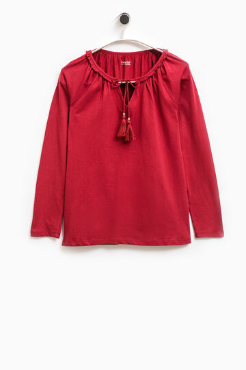 Smart Basic T-shirt with flounce and tassels, Red, hi-res