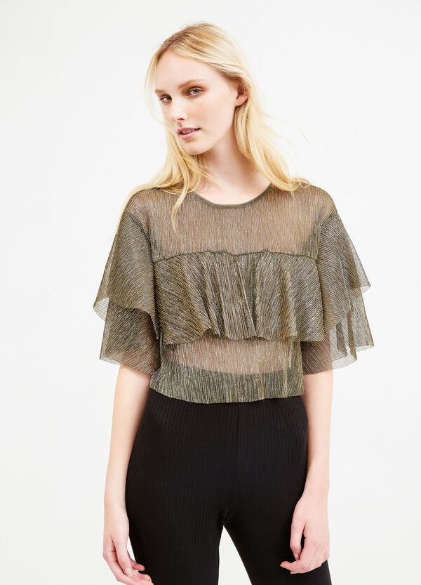 Creased-effect cropped blouse | OVS