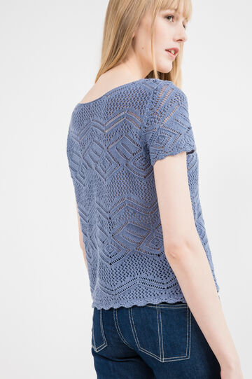 Short-sleeved pullover with diamond motif, Light Blue, hi-res