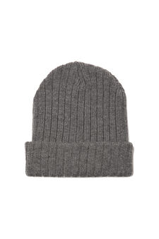 Ribbed knitted beanie cap, Grey Marl, hi-res