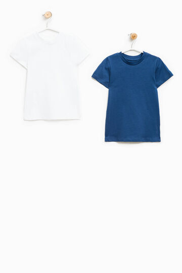 Two-pack solid colour undershirts, White/Blue, hi-res