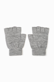 Fingerless diamanté gloves, Grey Marl, hi-res