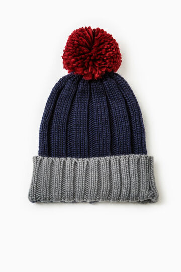 Knit beanie with pompom, Navy Blue, hi-res