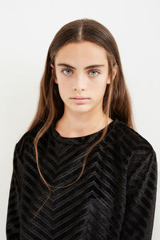 Teen 100% cotton velvet sweatshirt with stripes, Black, hi-res