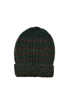 Striped cotton knitted beanie cap, Green, hi-res