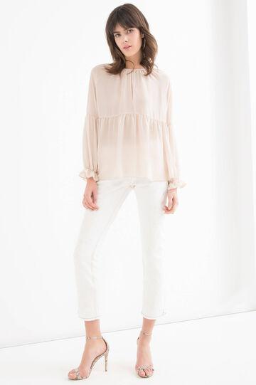 Blusa maniche lunghe tinta unita, Bianco avorio, hi-res