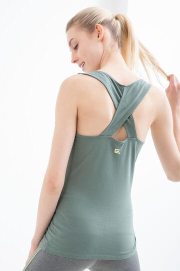 Top sportivo cotone borchiette, Verde, hi-res