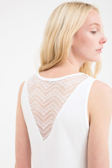 100% cotton top with lace, White, hi-res