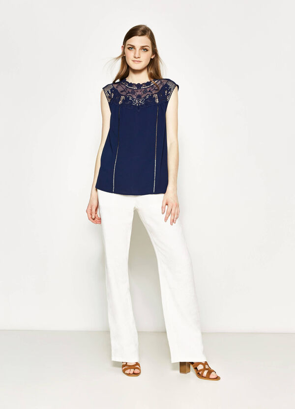 Stretch blouse with lace | OVS