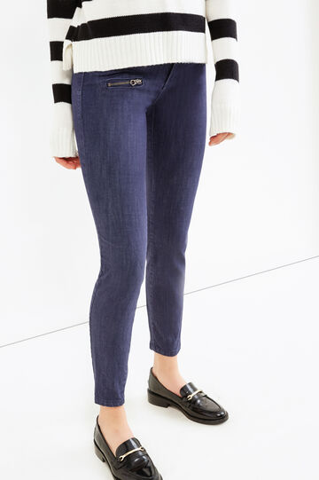 Stretch trousers with pockets and zip, Blue, hi-res