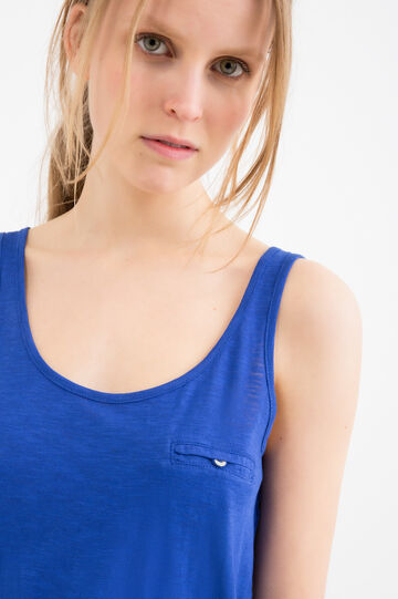 100% cotton top with pocket, Blue, hi-res