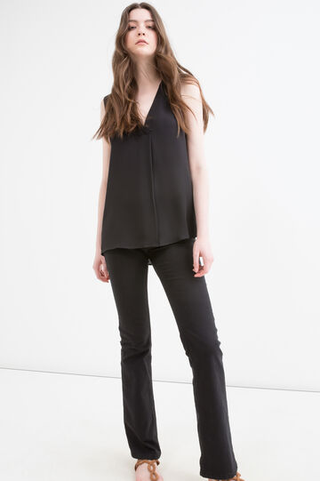 V-neck sleeveless blouse, Black, hi-res