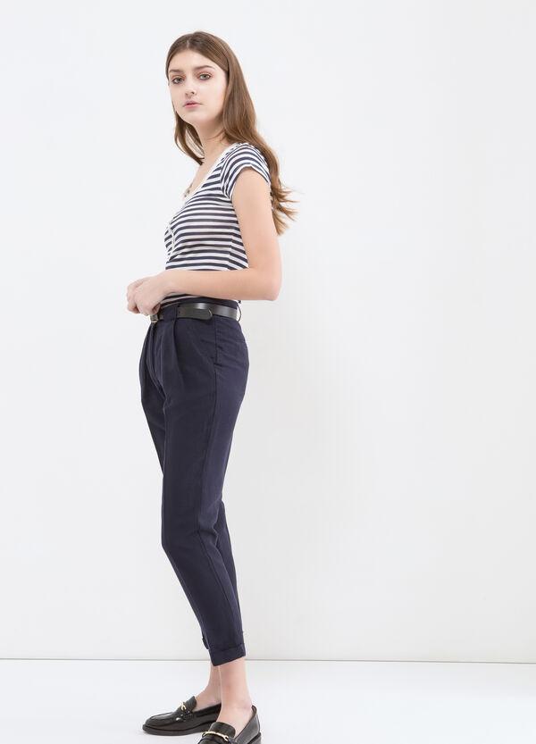 Pantaloni misto lino vita alta | OVS