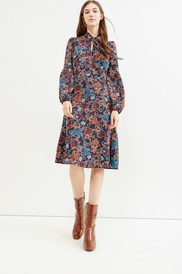 Longuette dress with floral print, Blue, hi-res