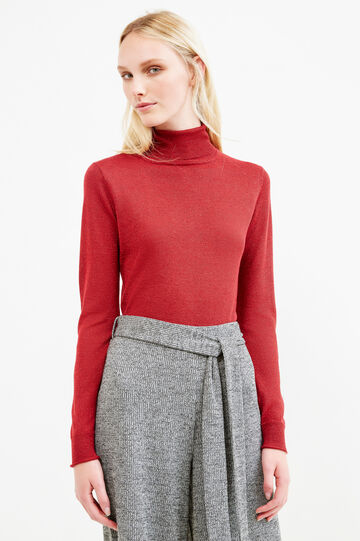 Turtleneck in viscose blend with lurex, Red, hi-res