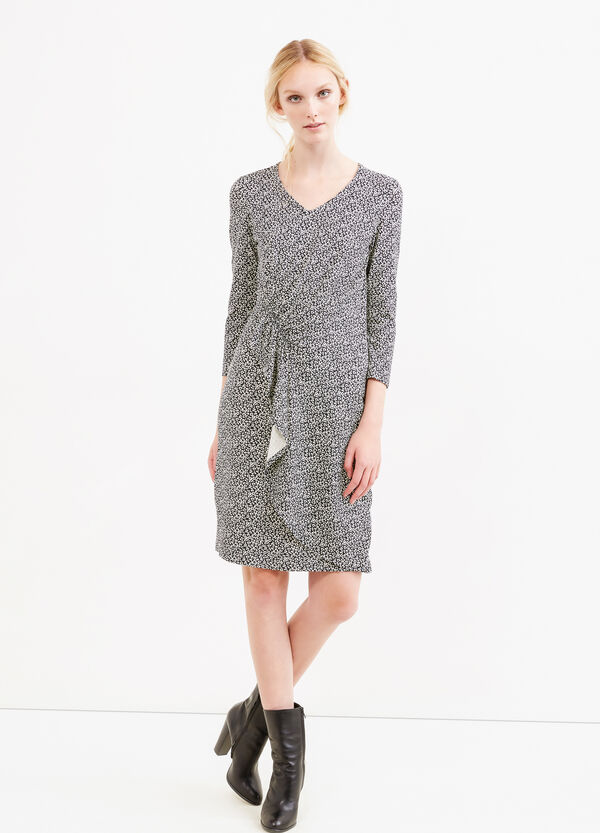 Viscose dress with gathering and flounces | OVS