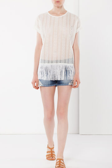 Mesh T-shirt with fringes, Cream White, hi-res