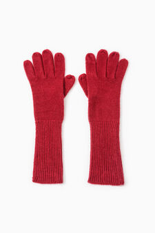 Long solid colour gloves, Red, hi-res