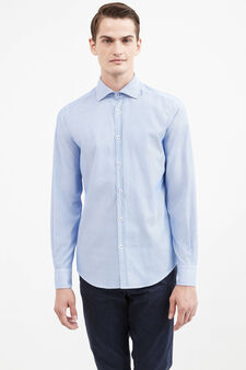 Striped slim-fit casual Rumford shirt, Soft Blue, hi-res