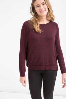 Teen stretch pullover with lace, Black, hi-res