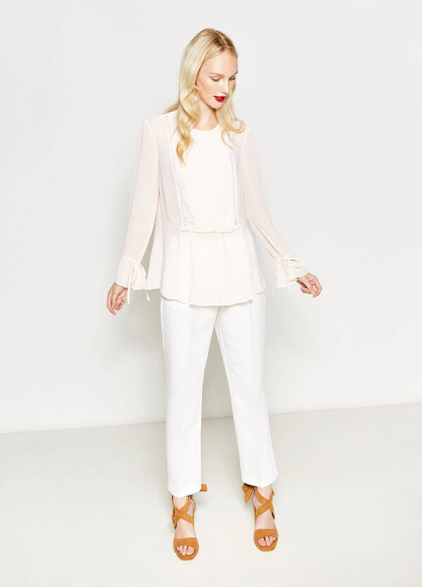 Semi-sheer pleated blouse | OVS