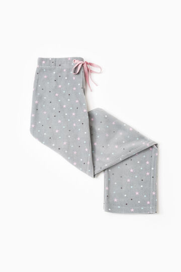 Printed fleece pyjama trousers, Grey, hi-res