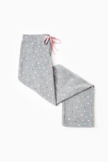 Pantaloni pigiama pile stampati, Grigio, hi-res