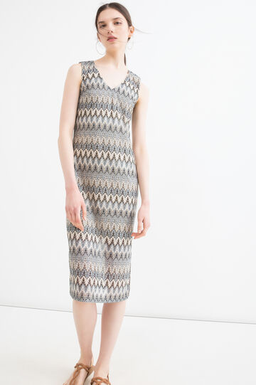 Sleeveless patterned pencil dress., Multicolour, hi-res