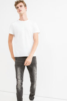 Jeans skinny fit stretch used, Nero, hi-res