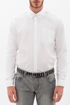 Plain slim-fit shirt., White, hi-res