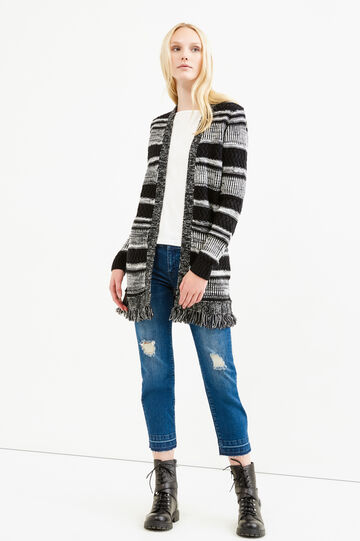 Long striped cardigan with fringes, Black/White, hi-res