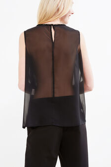 Sleeveless blouse with semi-sheer back, Black, hi-res