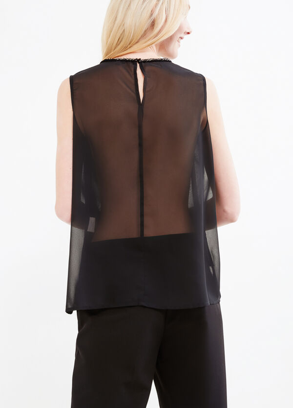 Sleeveless blouse with semi-sheer back | OVS