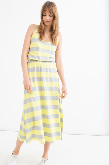 Long 100% viscose dress with stripes, Multicolour, hi-res